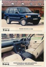 RANGE Rover 2.5 DSE 1995 x 2 foto originale di stampa a colori interno & esterno