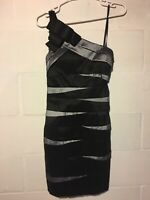 Betsy & Adam Women's Size 6 Black/Grey Striped One Shoulder No Sleeve Dress