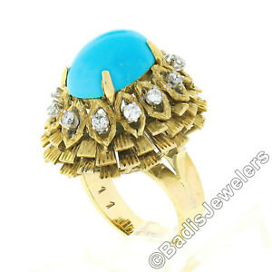 Vintage 14k Gold Cabochon Turquoise .36ct Diamond Textured Layered Cocktail Ring