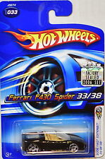 HOT WHEELS 2006 FIRST EDITIONS FERRARI F430 SPIDER #033 BLACK FACTORY SEALED