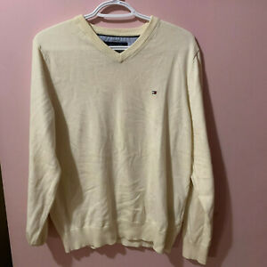 tommy hilfiger cream v-neck sweater
