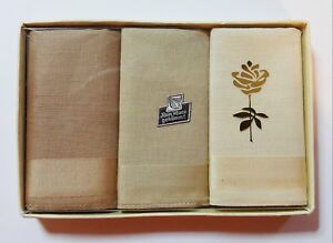 VINTAGE AUTHENTIC  SET OF 3 MACO COTTON HANDKERCHIEF WITH BOX
