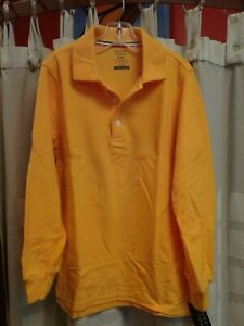 NWT, French Toast, Gold Long Sleeve Polo, Boys M (8) School Uniform