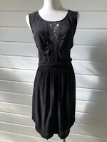 PORTMANS Black Sleeveless Dress With Lace Trim - Size 12
