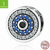 Christmas Gifts 925 Sterling Silver Blue Crystals Eyes Round Charms Chain