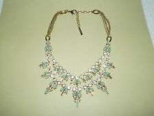 Stunning MYTHOLOGIE Goldtone Clear & Green Crystal Rhinestones Necklace