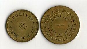 ARGENTINA 9 DE JULIO HARDWARE SHOP LA COLORADA 2 TOKENS 1 AND 5 Pesos