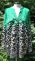 CALVIN KLEIN Ombre Green/Black Animal Print V-Neck Blouse 2X New Retail $64