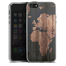Apple iPhone 5s Silikon Hülle Case - Wooden World Map