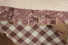 """French purple Toile de Normandy 1822 valance check  """" Genevieve de Brabant """""""