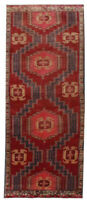 3x10 Vintage Oriental Hand Knotted Wool Geometric Red Distressed Runner Area Rug