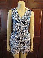 Blue Geometric Print Shorts and Tunic by Mud Pie, Size Small (4-6), NWT
