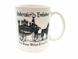 Hearse Funeral Director Vintage Ad Home Halloween Mortician Death Coffee Mug