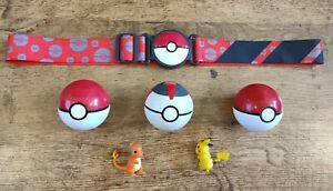 Pokemon Clip N Go belt & balls Charmander Pikachu figure toy playset bundle time