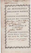 § Ex-praemio (ex-libris) du Collège de Lyon, 1787 §