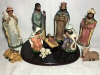 11 Piece Nativity Set JC Penny Home Collection Wood Base & Box