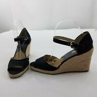 Michael Kors Wedge Size 8.5 Black Espadrille Ankle Strap Peep Toe Tan Rope