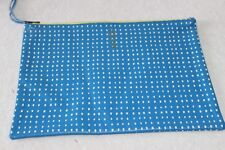 """West Elm Blue & White Leather Zipper Clutch Pouch Case NWOT Free Shipping """"DS"""""""