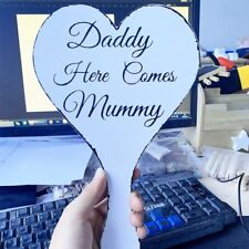 """6x3/"""" wedding sign Daddy here comes Mummy bridesmaid page boy vintage"""