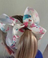 Large butterfly flower colourful hair bow clip girls rainbow dance wedding