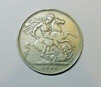 GREAT BRITAIN :  CROWN  1889.  KM 765.  VICTORIA.  0.9250 SILVER