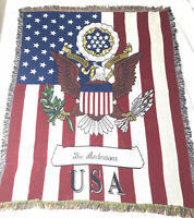 VTG The Andersons  Vintage 48x 60 Woven Tapestry Throw Blanket Fringe Afghan