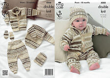 King Cole Knitting Pattern for Baby Romper Suit, Jacket & Socks - 4008