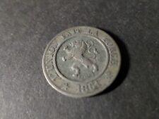 BELGIQUE PIECE de 10 c. 1861, LEOPOLD 1°, B, VF COIN