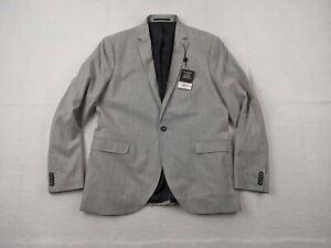 New Topman Blazer Adult 46R Men Pinstripe Gray Ultra Skinny One Button Jacket