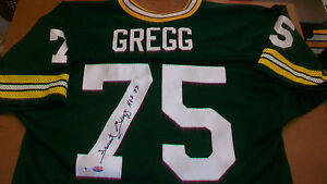 FORREST GREGG AUTOGRAPHED GREEN BAY PACKERS JERSEY, #75, SUPER BOWL CHAMPION