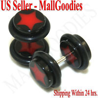 0841 Fake Cheaters Illusion Faux Ear Plugs 16G Bar Look 0G Black Red Star