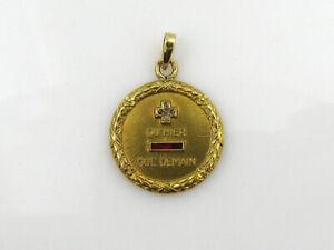 Pendentif grande médaille d'amour Augis ancienne Ø 22,5 mm poids 6,4 grammes