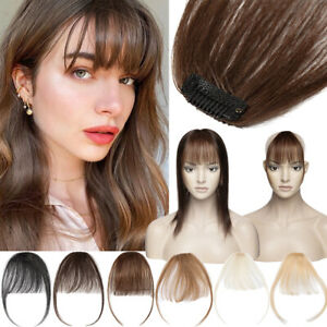 100% Remy Human Hair Extensions Topper Human Hair Clip In Wispy Bangs Hairpiece