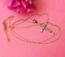 "10KYellow Gold CZ Cross Pendant Necklace,18"" long"