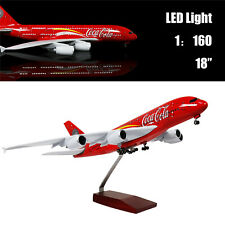 "18""(46cm) 1:160 Airplane Model Coca A380 with LED Light Office Plane Gift"