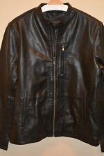NWT $698 John Varvatos Star USA Leather Band Collar Moto Jacket in Blk Sz Large