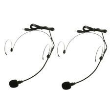 2Pack Uni-Directional Condenser Headset Head-mounted Microphone 3.5mm Mono