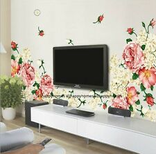 HUGE Luxury Peony Flowers 60*90 Wall Stickers Art Mural Decor LOUNGE Living Bed