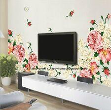 Enorme Lusso PEONY FIORI 60 * 90 Adesivi Da Parete Arte Murale DECOR LOUNGE LIVING letto