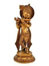 "9"" Brown krishna statue"