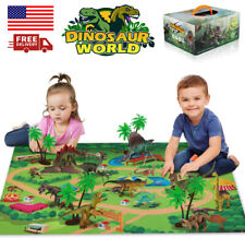 Baztoy 9 Dinosaurs Toys Model Sets Play Mat for Kids Age 2 3 4 5+Years old boys