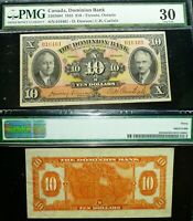 1935 $10 CANADA CHARTED BANKNOTE , THE DOMINION BANK PMG 30