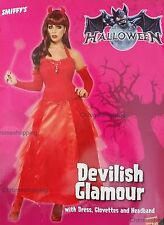 Ladies Devilish Glamour Sexy Fancy Dress Halloween Costume Red Devil Large 16-18
