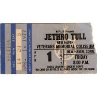 JETHRO TULL & LAW Concert Ticket Stub NEW HAVEN 4/1/77 SONGS FROM THE WOOD Rare