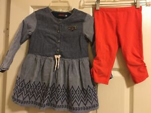 Catimini Outfit Blue Dress and Capris Girls Size 104 4