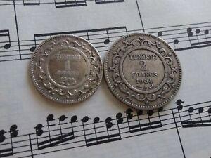 TUNISIA 1 + 2 Francs 1904-A KM231+232 Ag.835 Paris Average VERY RARE PAIR !