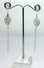 solid Sterling Silver Long Tassel drop earrings, new, Filigree, UK Seller.