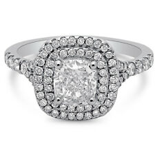 WHITE GOLD CUSHION CUT DOUBLE HALO DIAMOND ENGAGEMENT RING C20 14K WHITE GOLD