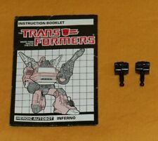 original G1 Transformers INFERNO R+L FIST + INSTRUCTION BOOKLET parts lot