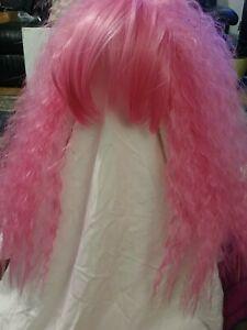 Adult Womens Hot Pink Nicki Minaj Bubble Gum Clown Curly Wig